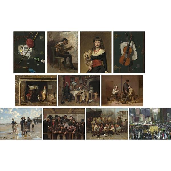 تابلو چاپ سی طرح آثار هنرمندان آمریکایی قرن 19 میلادی مجموعه 11 عددی