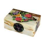 جعبه سنگ مرمر اثر بابائی با نگارگری گل و مرغ سایز 10x15 سانتی کد 15