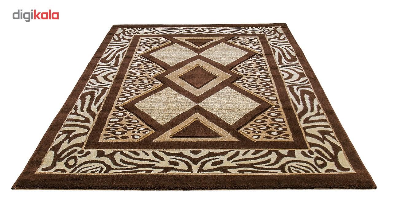 فرش ماشینی سهند کد C725.XO   طرح فانتزی زمینه گردوئی