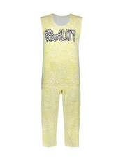 ست تاپ و شلوارک زنانه طرح بیوتی کد 0227 رنگ زرد -  - 1