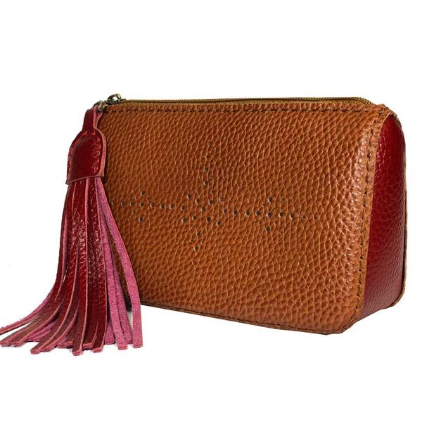 کیف لوازم آرایش چرم طبیعی گلیما مدل 261.1