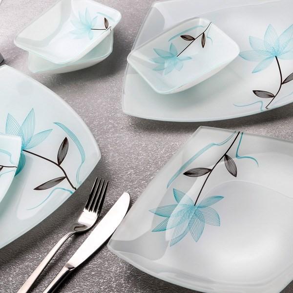 سرویس 25 پارچه غذاخوری شیشه ای آرکوفام طرح گل