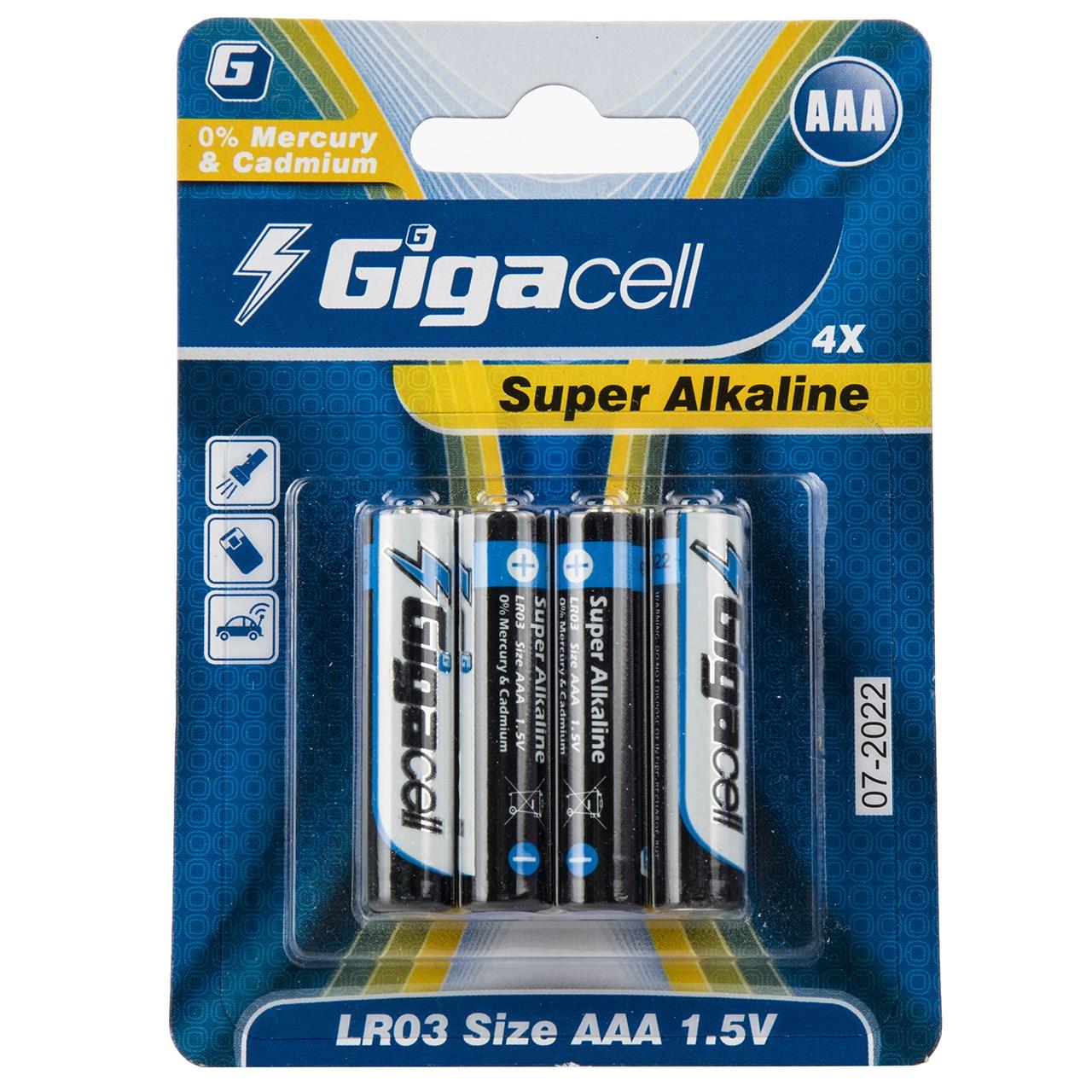 باتری نیم قلمی گیگاسل مدل Super Alkaline - بسته 4 عددی