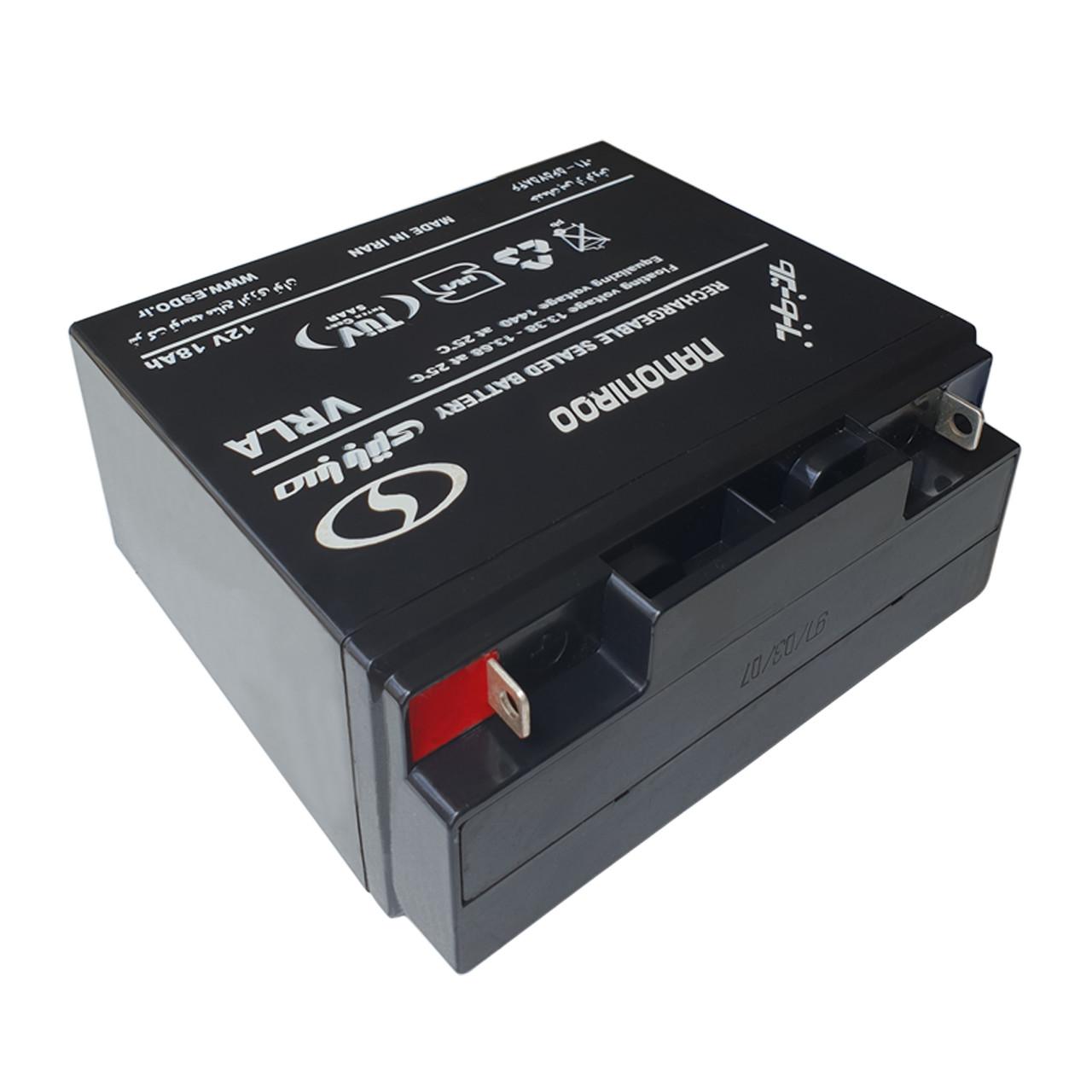 باتری 12 ولت 18 آمپر صبا باتری مدل 12V-18Ah سلد اسید