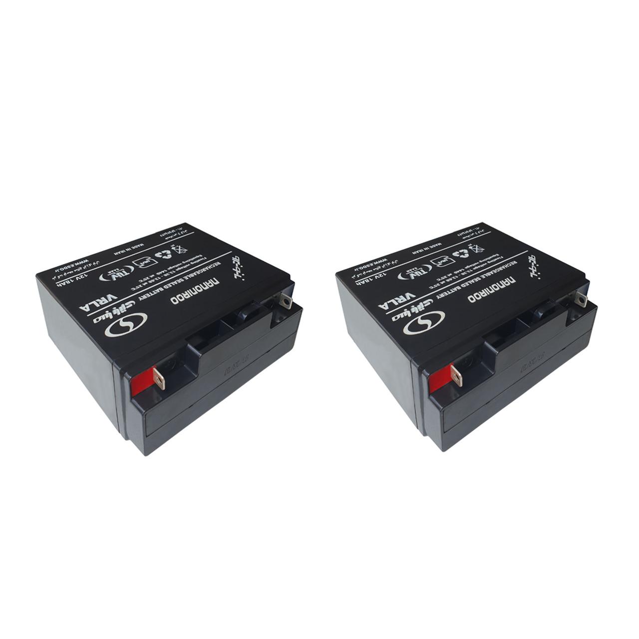 باتری 12 ولت 18 آمپر صبا باتری  مدل 12V-18Ah بسته دو عددی