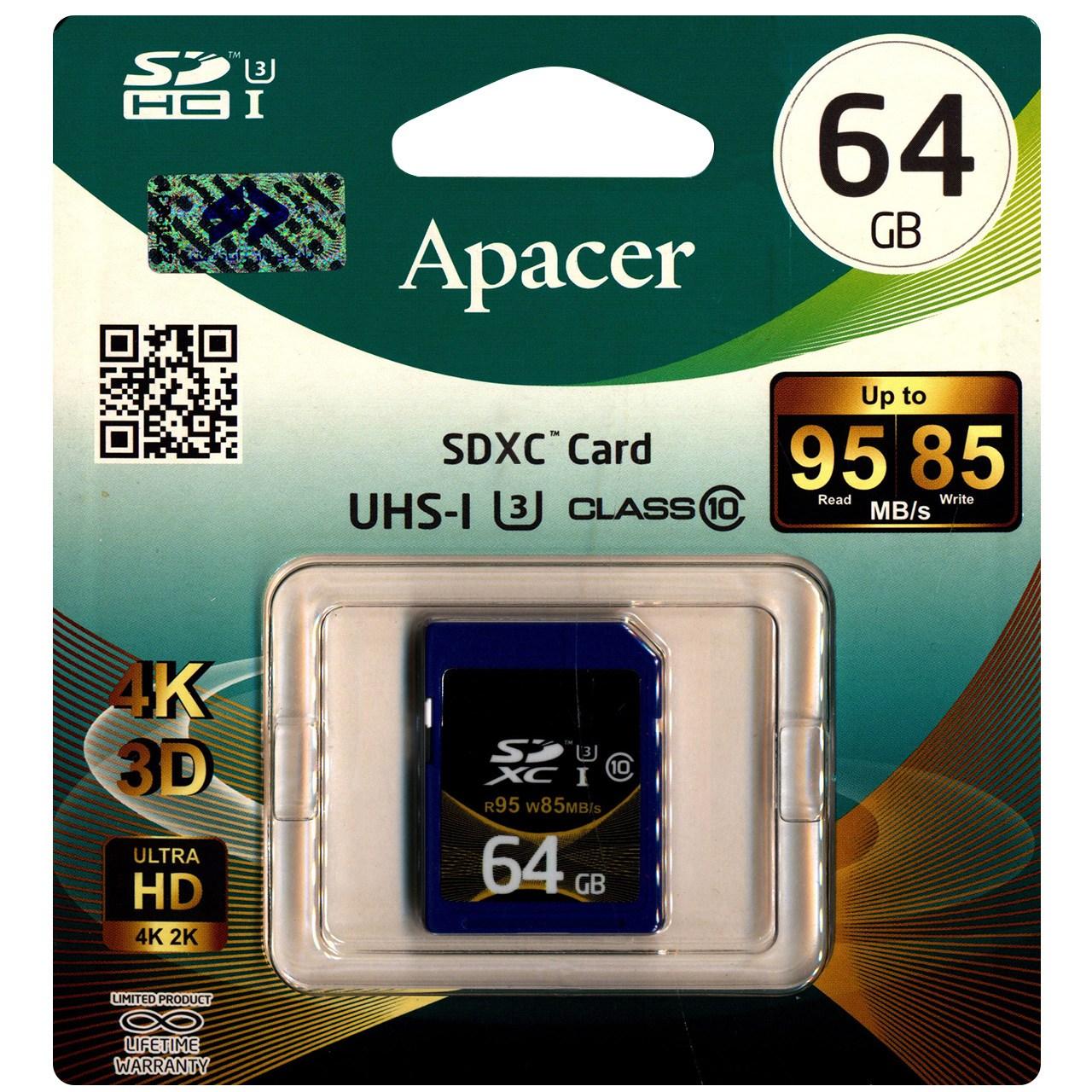 کارت حافظه  SDXC اپیسر کلاس 10 استاندارد UHS-I U3 سرعت 95MBps ظرفیت 64 گیگابایت