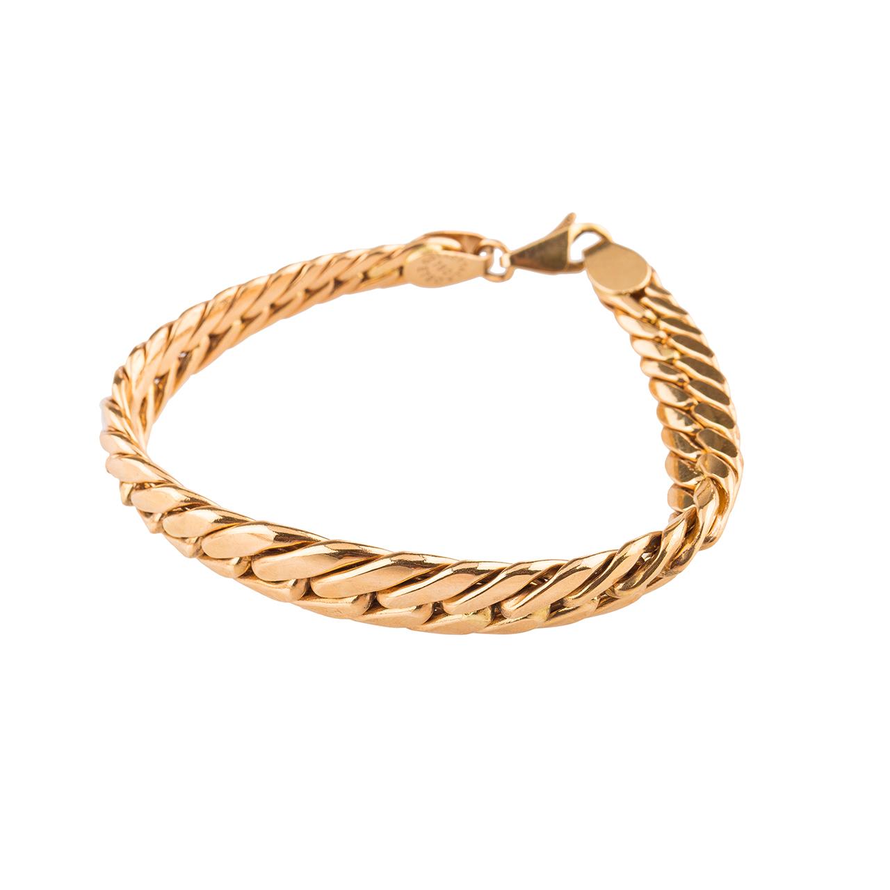 قیمت دستبند طلا 18عیار گالری طلاچی مدل زنجیر پهن