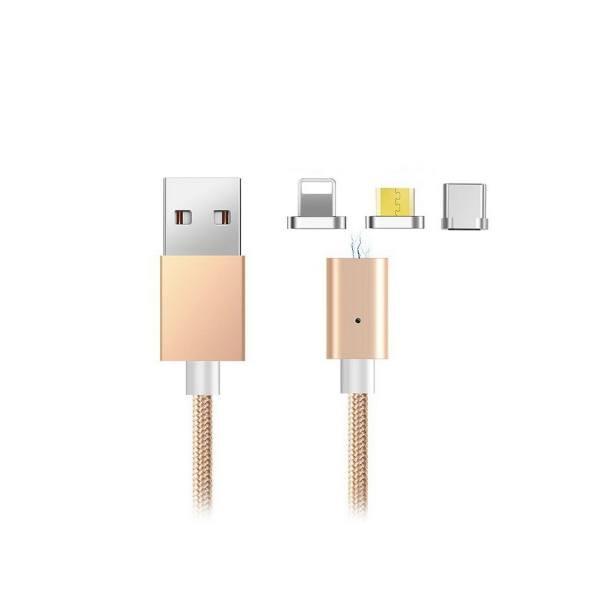 کابل تبدیل USB به MicroUSB و لایتینگ و Type-C مدل 360 به طول 1 متر