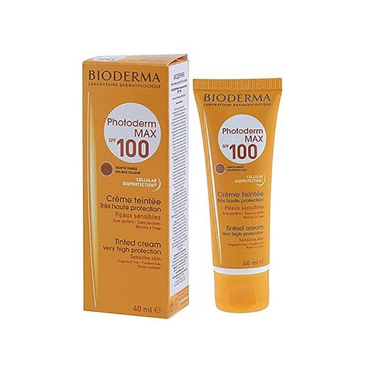 قیمت کرم ضد آفتاب بایودرما مدل Photoderm Max 100 Golden Tinted حجم 40 میلی لیتر