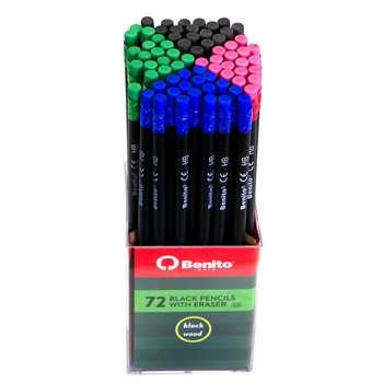 مداد مشکی مدل Benito HB بسته 72 عددی