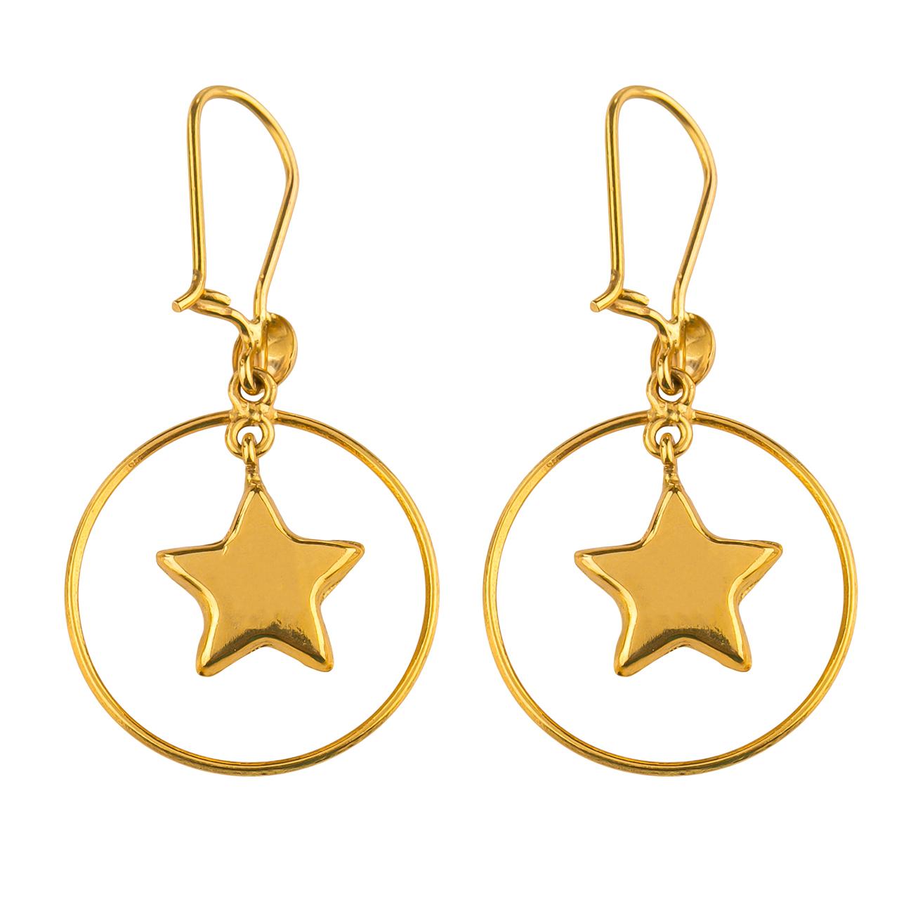 گوشواره طلا 18عیار گالری طلاچی مدل آویز ستاره و حلقه