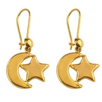 گوشواره طلا 18عیار گالری طلاچی مدل آویز ماه و ستاره