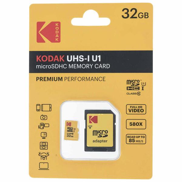 کارت حافظه microSDHC کداک مدل UHS-I U1 کلاس 10 سرعت 85MBps همراه با آداپتور ظرفیت 32 گیگابایت