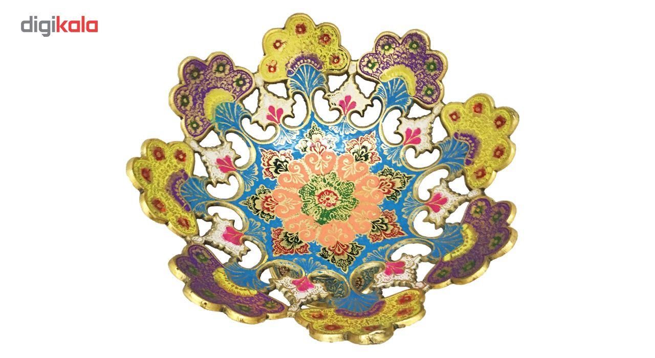 ظرف میوه خوری برنجی جام هنر مدل طاووس پایه دار 9.5