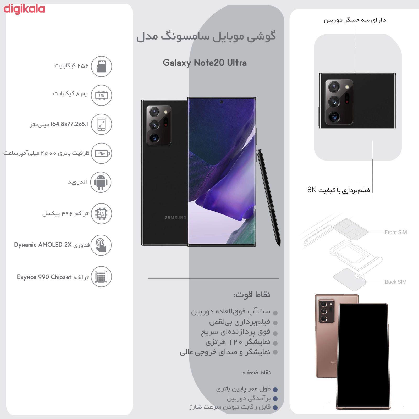 گوشی موبایل سامسونگ مدل Galaxy Note20 Ultra SM-N985F/DS دو سیم کارت ظرفیت 256 گیگابایت  main 1 30