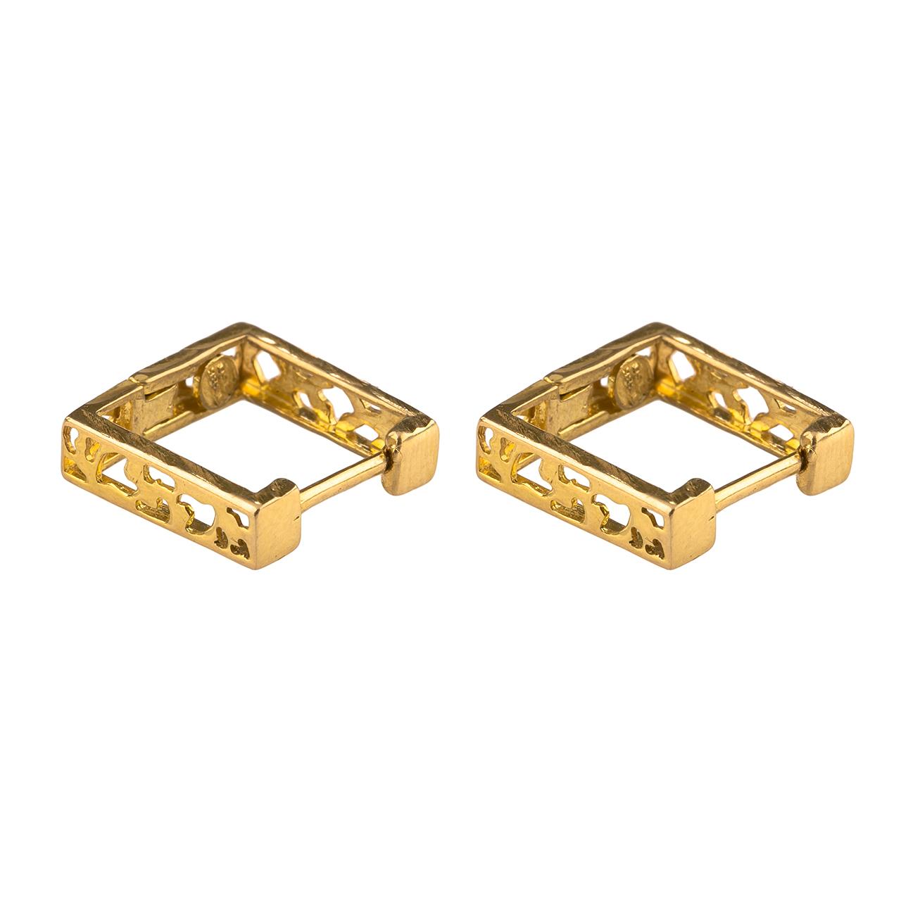 قیمت گوشواره طلا 18عیار گالری طلاچی مدل مربع1