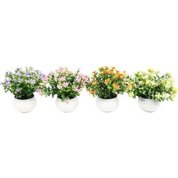 گلدان دکوری به همراه گل مصنوعی هومز مدل 40475 مجموعه 4 عددی