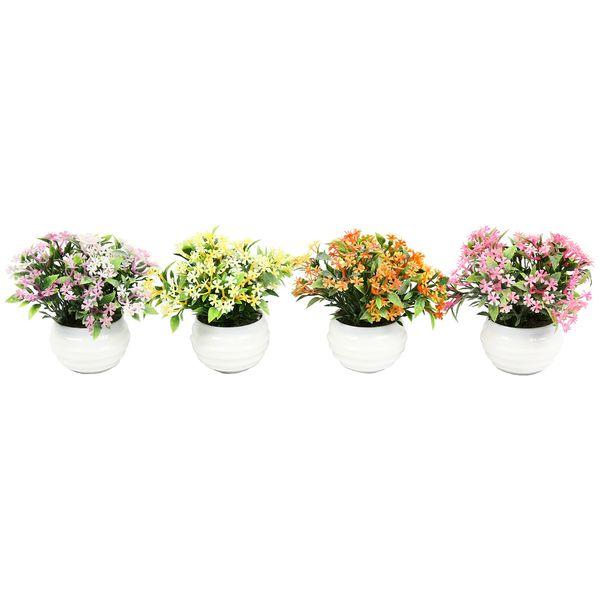 تخفیف خرید گلدان دکوری به همراه گل مصنوعی هومز مدل 40501 مجموعه 4 عددی