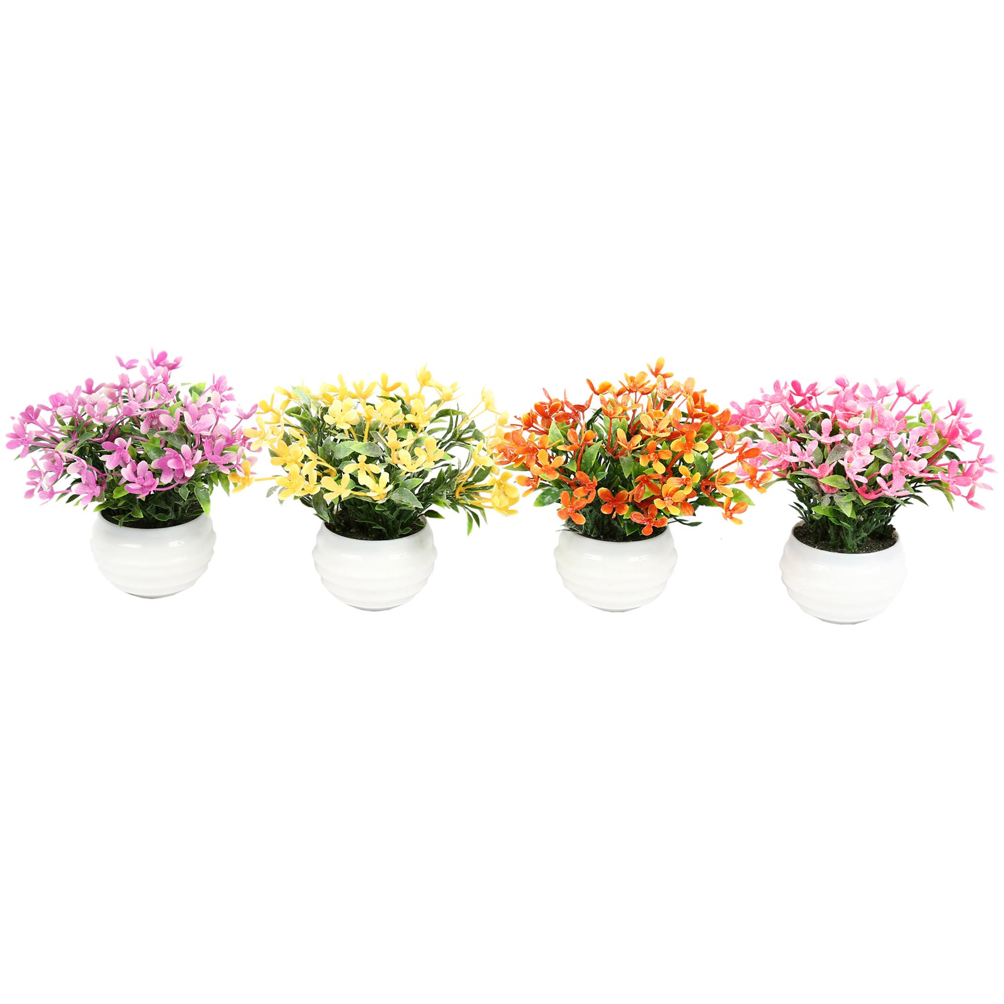 گلدان دکوری به همراه گل مصنوعی هومز مدل 40507 مجموعه 4 عددی