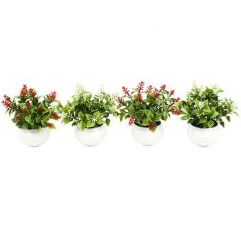 گلدان دکوری به همراه گل مصنوعی هومز مدل40801 مجموعه 4 عددی
