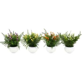 گلدان دکوری به همراه گل مصنوعی هومز مدل 40921 مجموعه 4 عددی