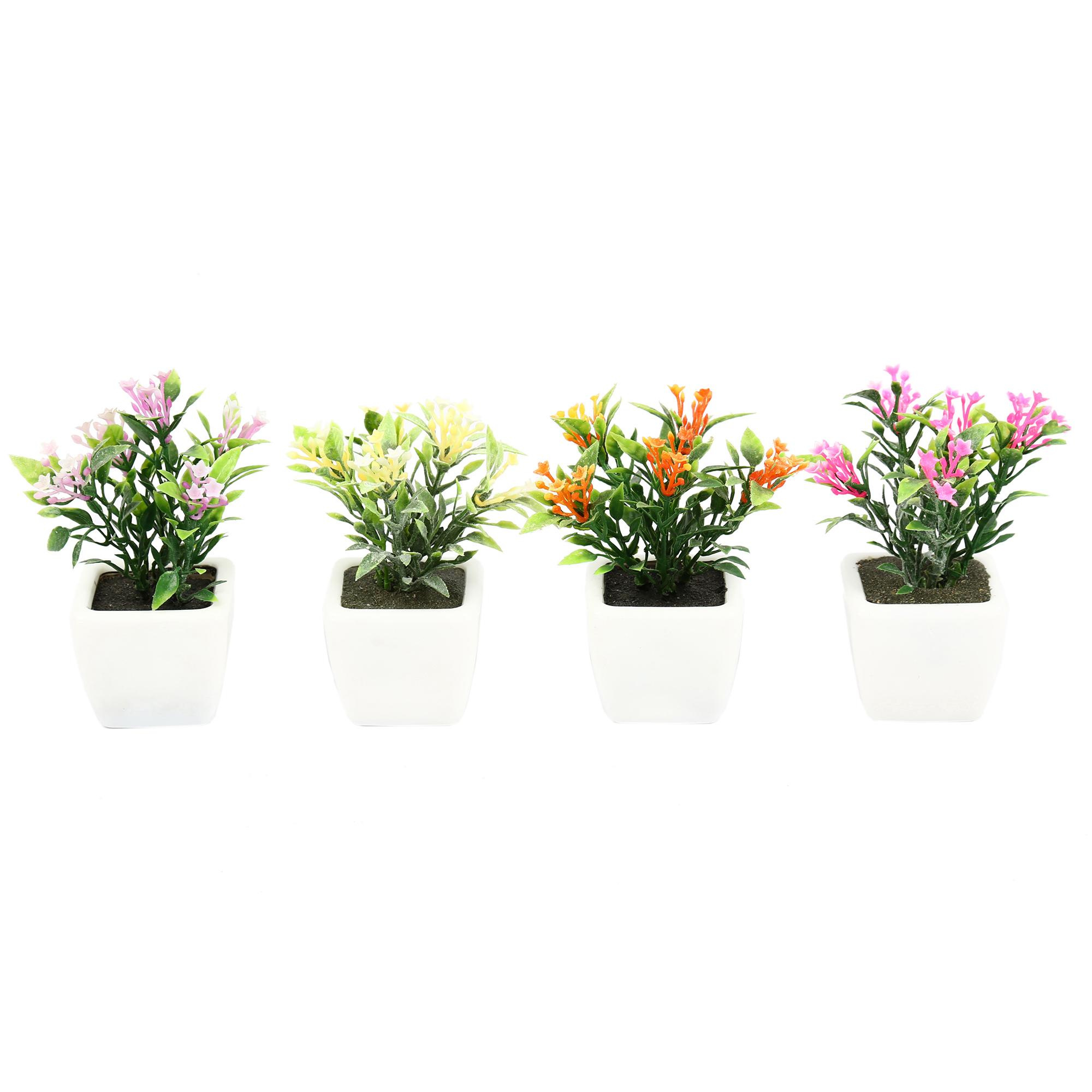 گلدان دکوری به همراه گل مصنوعی هومز مدل 30506 مجموعه 4 عددی