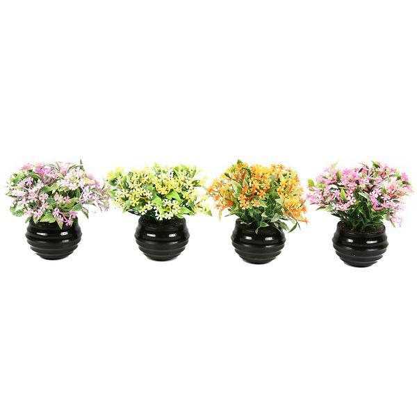 گلدان دکوری به همراه گل مصنوعی هومز مدل 41501 مجموعه 4 عددی