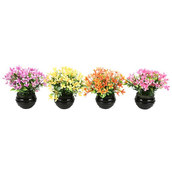 گلدان دکوری به همراه گل مصنوعی هومز مدل 41507 مجموعه 4 عددی