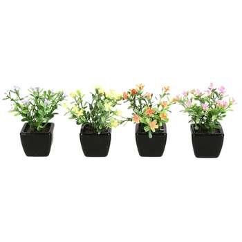 گلدان دکوری به همراه گل مصنوعی هومز مدل 31475 مجموعه 4 عددی