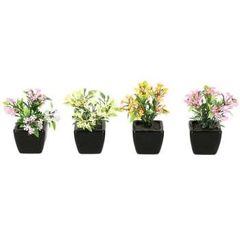 گلدان دکوری به همراه گل مصنوعی هومز مدل 31501 مجموعه 4 عددی