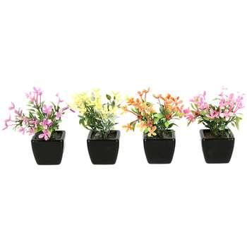 گلدان دکوری به همراه گل مصنوعی هومز مدل 31507 مجموعه 4 عددی