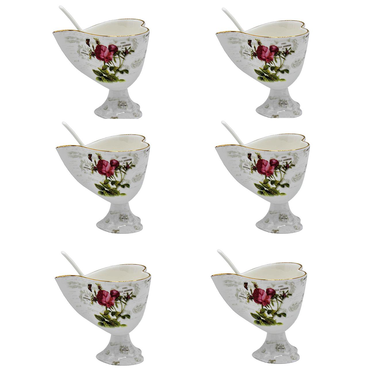 بستنی خوری پی طرح لمونژ کد 12-7017 بسته 6 عددی
