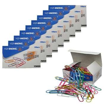 گیره کاغذ ایژی وانگ مدل YZW650 رنگی سایز بزرگ بسته 1000 عددی