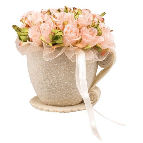 گلدان نمدی به همراه گل مصنوعی رز مینیاتوری پرانی طرح فنجان مدل 1001