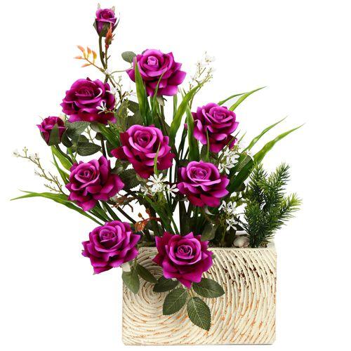 گلدان دکوری به همراه گل مصنوعی هومز مدل 50012