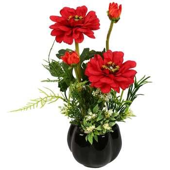 گلدان دکوری به همراه گل مصنوعی هومز مدل 50051