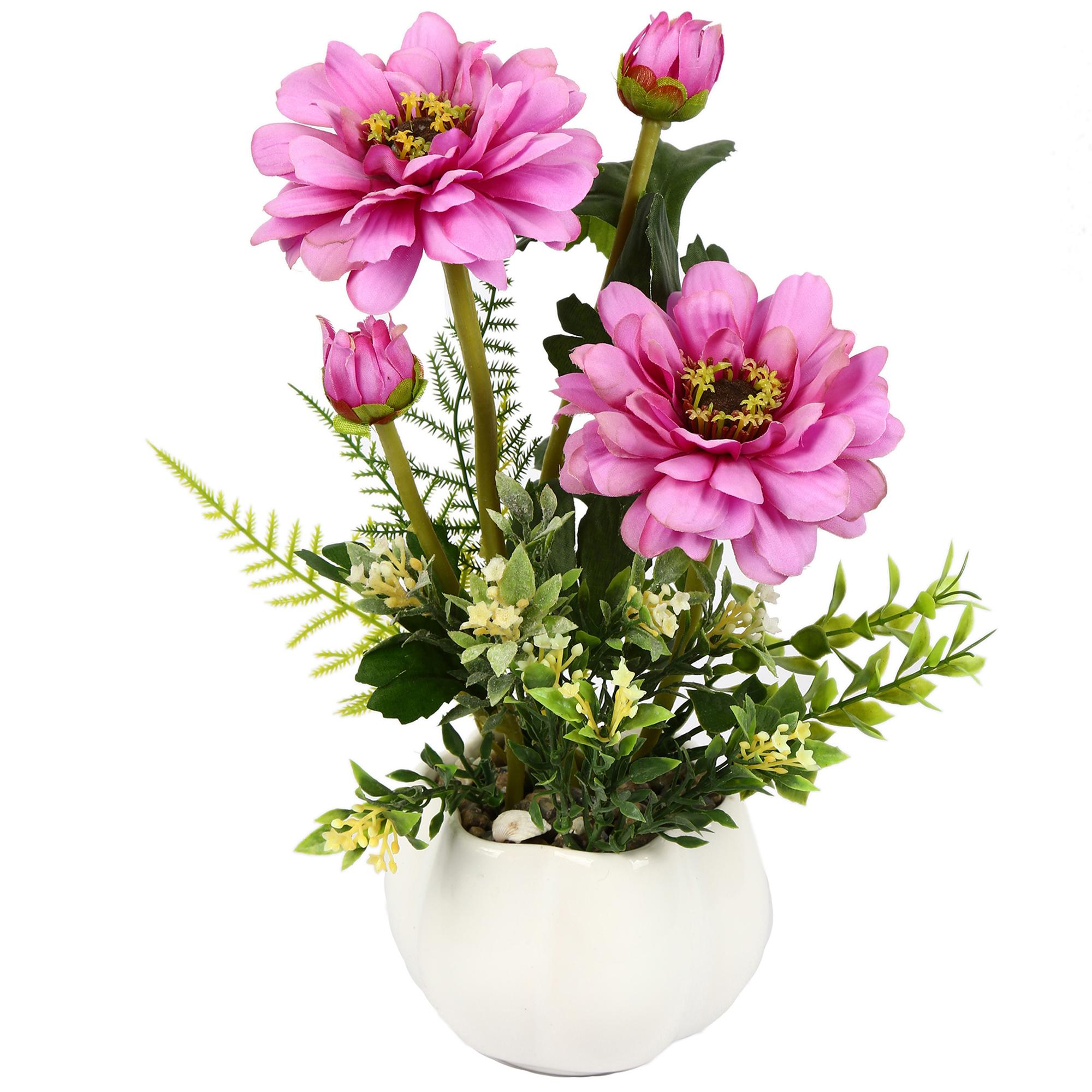گلدان دکوری به همراه گل مصنوعی هومز مدل 50052