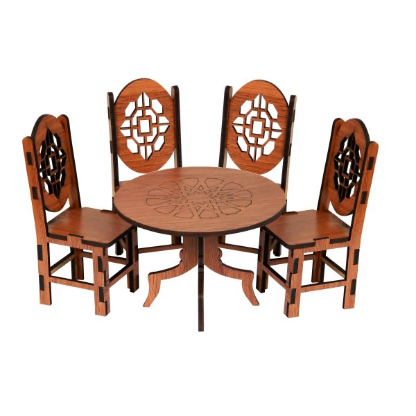 ماکت دکوری طرح میز و صندلی ناهار خوری مدل A2 مجموعه5عددی
