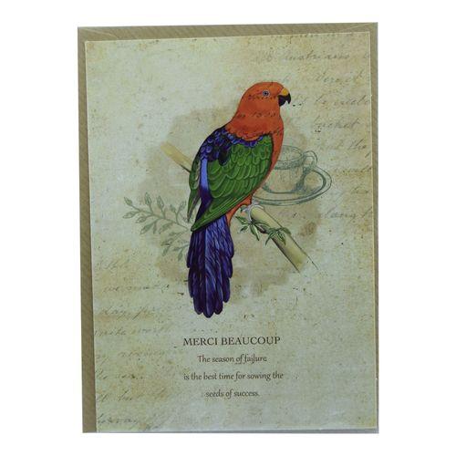 کارت پستال طرح پرنده رنگی