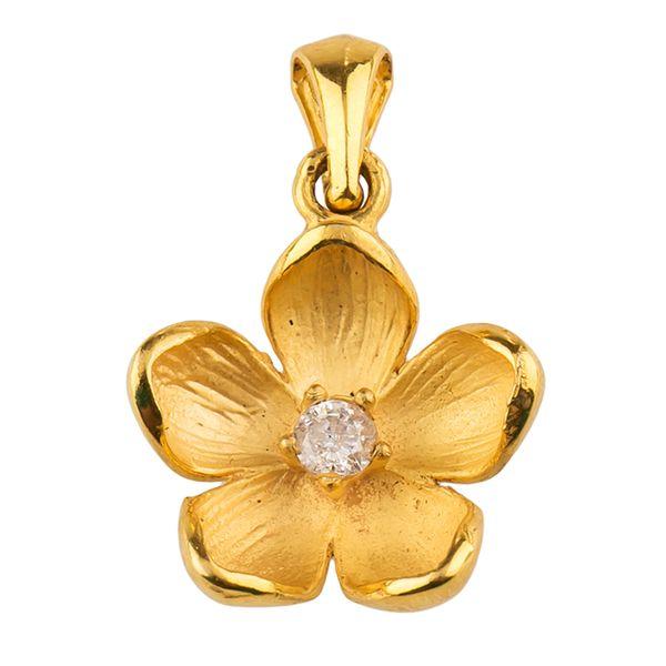 آویز گردنبند طلا 18 عیار زنانه مدل گل پنج پر
