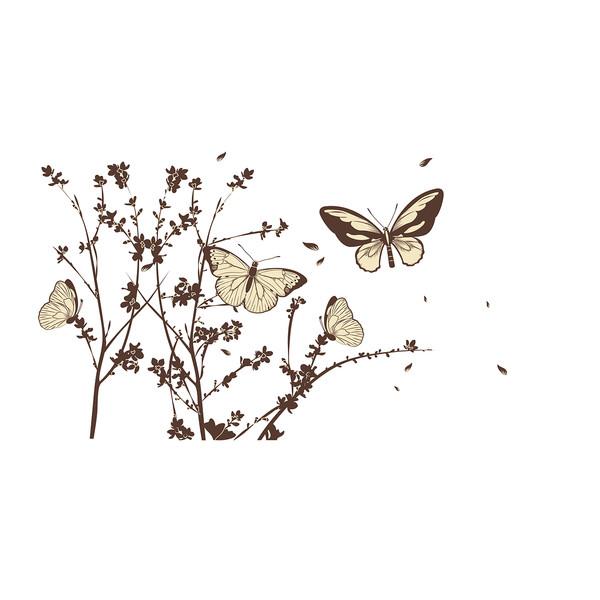 استیکر دیواری سالسو طرح پروانه های صحرایی a.z
