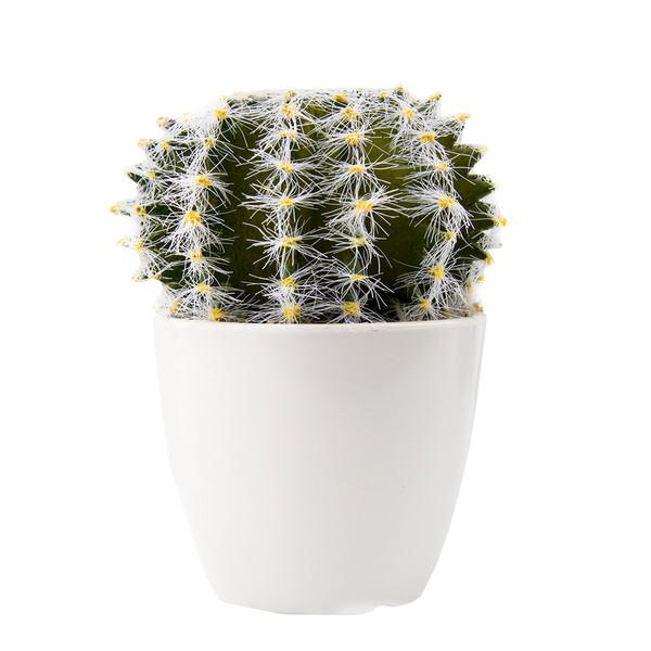 گلدان به همراه گل مصنوعی آتریسا طرح کاکتوس مدل بوته ای