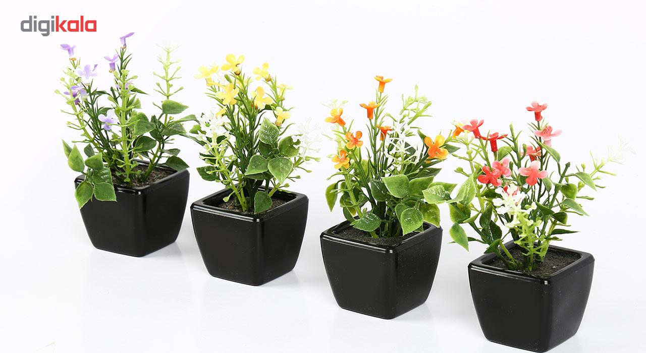 گلدان دکوری به همراه گل مصنوعی هومز مدل 31839 مجموعه 4 عددی