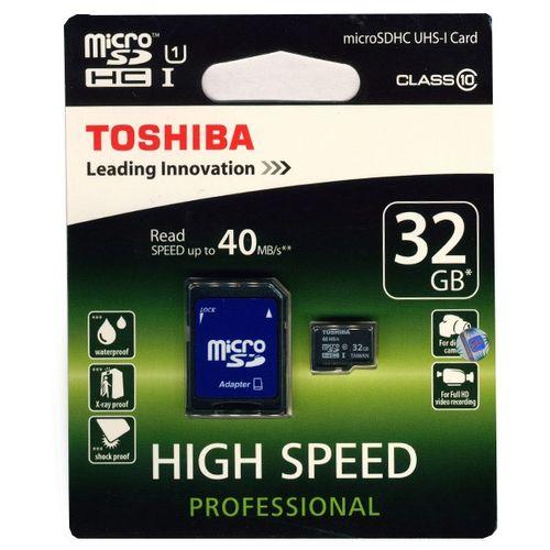 کارت حافظه microSDHC توشیبا مدل High Speed Professional کلاس 10 استاندارد UHS-I U1 سرعت 40MBps ظرفیت 32 گیگابایت
