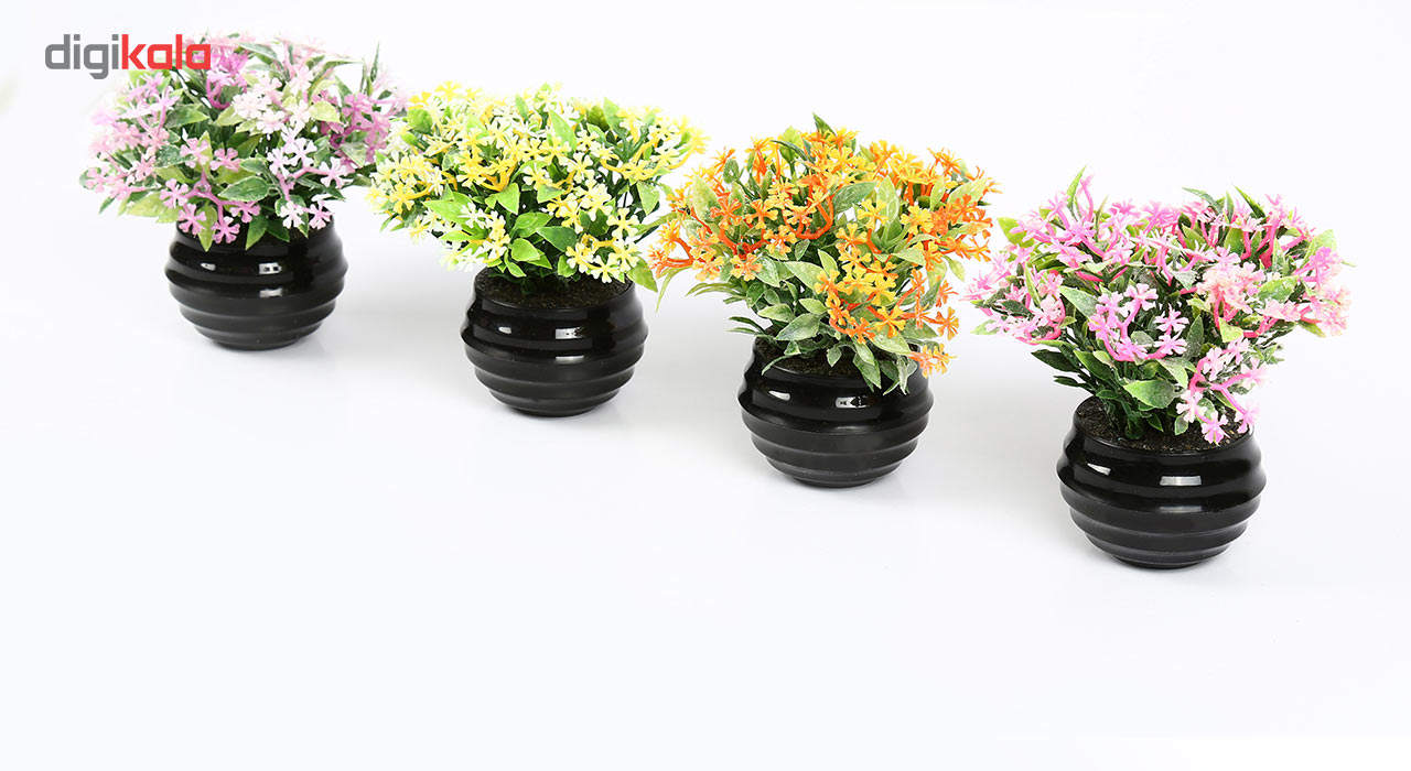 گلدان دکوری به همراه گل مصنوعی هومز مدل 41501 مجموعه 4 عددی main 1 2