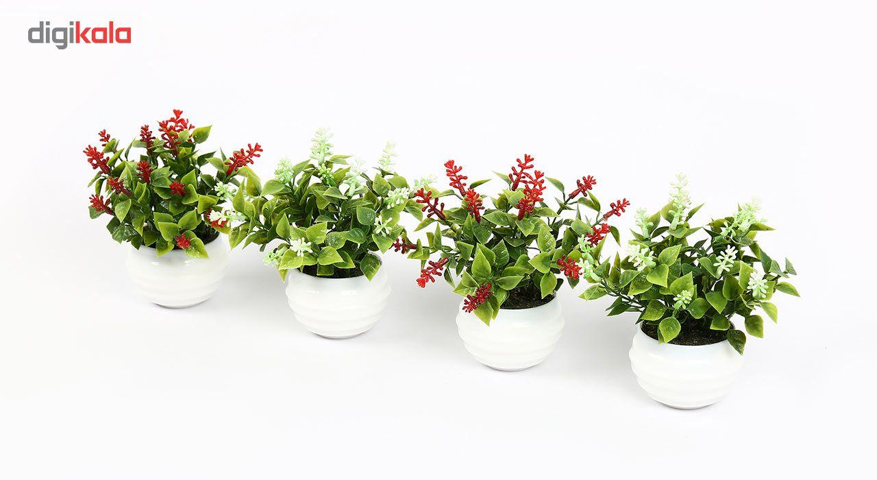 گلدان دکوری به همراه گل مصنوعی هومز مدل40801 مجموعه 4 عددی main 1 2