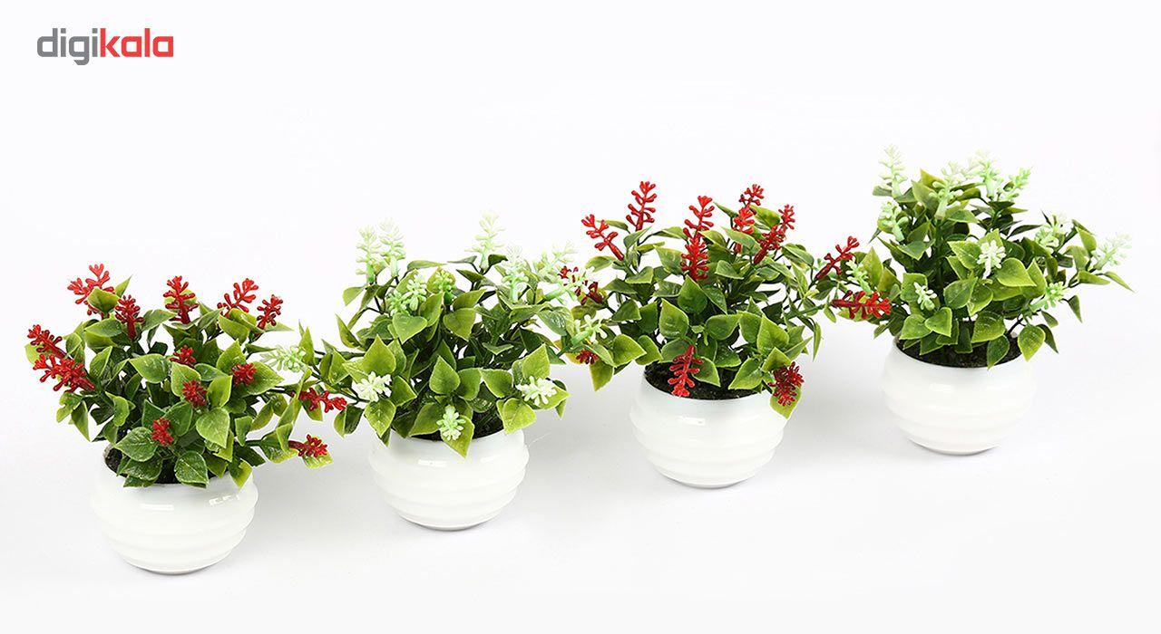 گلدان دکوری به همراه گل مصنوعی هومز مدل40801 مجموعه 4 عددی main 1 3