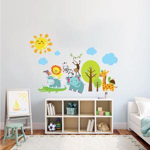 استیکر دیواری کودک مدل جنگل حیوانات