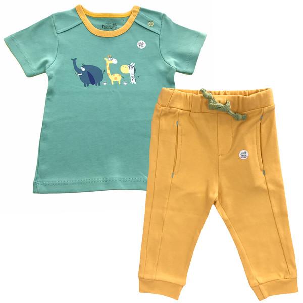 ست تی شرت و شلوار نوزادی نیلی مدل zoo