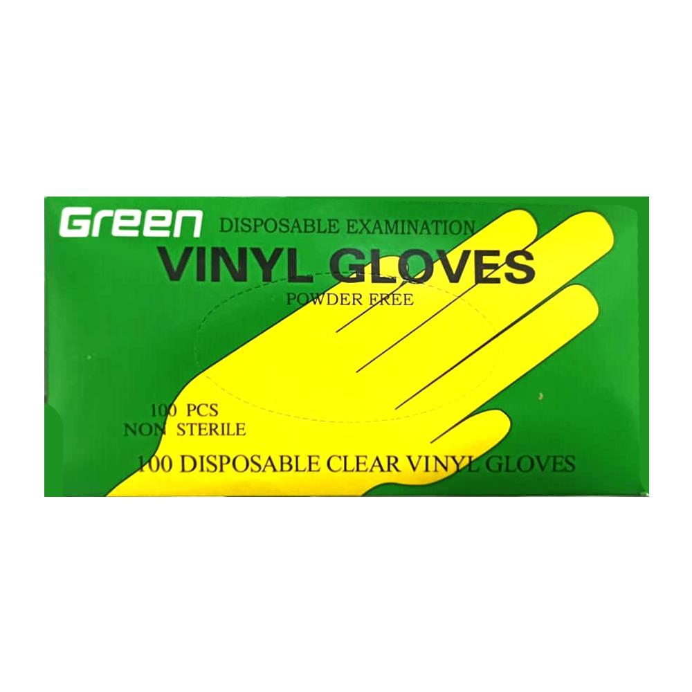 دستکش یکبار مصرف گرین مدل ونیل بسته 100 عددی